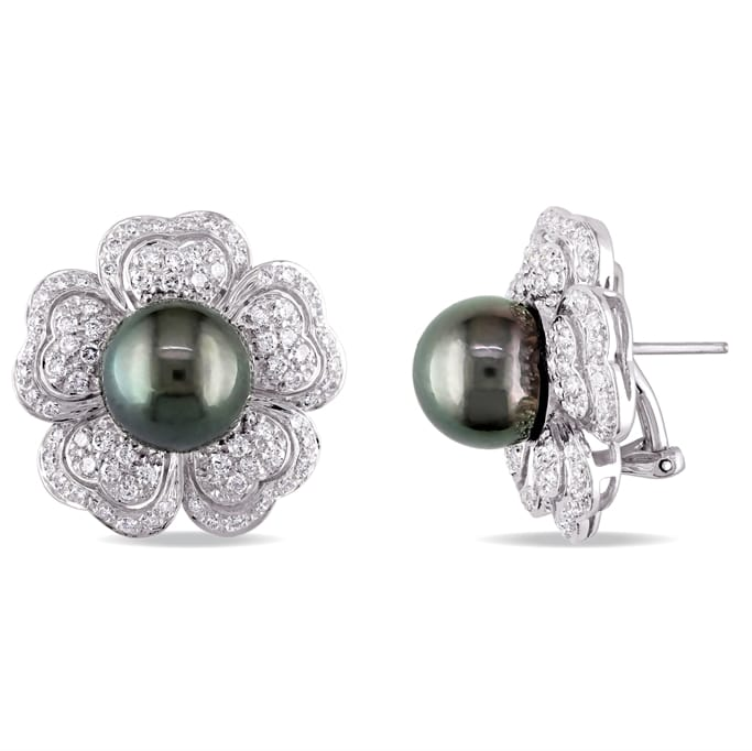 3c5727d41 1 1/2 CT TW Diamond Pave and 10-11 mm Black Tahitian Pearl Floral 18k White  Gold Stud Earrings - Exceptional Boutique