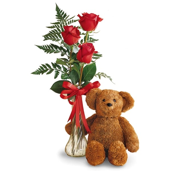 Philips Flowers Teddy Bear And Roses Bud Vase Military Discount Govx