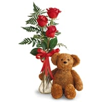 Picture of Teddy Bear and Roses Bud Vase - Friday, January 25, 2019